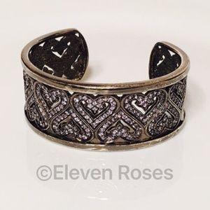 Blackened Sterling & Tanzanite Heart Cuff Bracelet